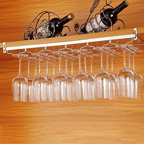 Tosbess Portabicchieri/Porta calici - Supporto con 6 binari per 12-18 Bicchiere di Vino - Mantieni I Bicchieri asciutti - a Sospensione o a Parete, Cromato,64 x 24 x 4,5cm