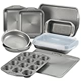 Circulon Total Nonstick Bakeware Set with Nonstick Bread Pan, Cookie Sheet, Baking Pan, Baking Sheet, Cake Pan and Muffin/Cupcake Pan - 10 Piece, Gray