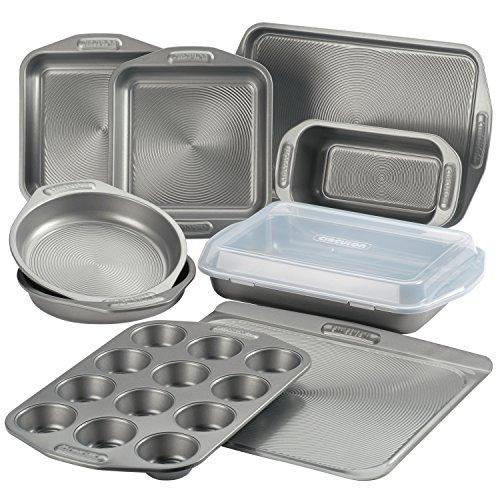 Circulon Total Antihaft-Backformen-Set mit Antihaft-Brotpfanne, Keksblech, Backblech, Kuchenform und Muffin/Cupcake-Form – 10-teilig, grau