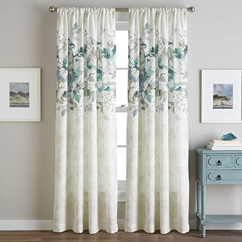 CHF Watercolor Floral Curtain Panel, 84', Aqua