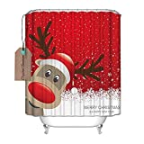 Decration Colletion Decor, Bad Decor, wasserdicht Polyester Duschvorhang mit Weihnachten Rentier Merry Christmas Happy New Year, Textil, multi, 71x72