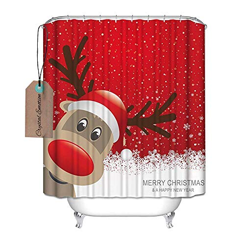 Decration Colletion Decor, Bad Decor, wasserdicht Polyester Duschvorhang mit Weihnachten Rentier Merry Christmas Happy New Year, Textil, multi, 71x72