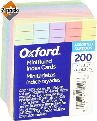 """Oxford Mini Ruled Index Cards, Ruled, 3"""". x 2.5"""", Assorted Colors, 200 ea - 2 Pack"""