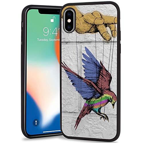 Mojene iPhone X/10/Xs Frosted Phone Case Hawk Hummingbird Absorption TPU Backplate Black