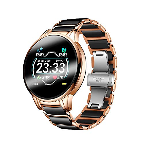 LHTCZZB Magnetic Rechargeable Smart Watch Full Touch Screen Bluetooth Watch Fitness Management Heart Rate Monitoring Watch Sport Mode Long Lifetime Suitable for Women and Men (Black)