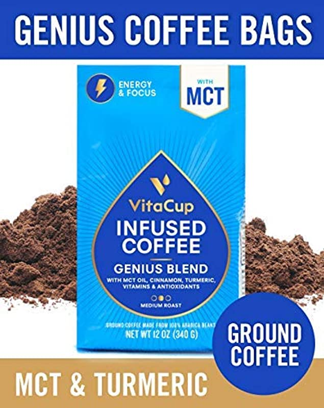 VitaCup Genius Blend Ground Coffee Bags 12oz Energy Focus MCT Turmeric Cinnamon Keto Paleo Whole 30 Vitamins B1 B5 B6 B9 B12 D3 For Drip Coffee Brewers French Press