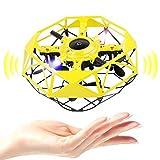 NXACETN UFO Mini Drone Toy, elicottero a mano RC per bambini, drone portatile, sensore a LED, USB per interni, UFO Flying Ball UAV per bambini, adulti, ragazzi e ragazze, giocattolo giallo