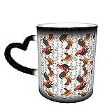 Oaieltj Tazas cambiantes de calor Funny Game Chickens Personalizado Sensible al Calor Cambio Magic Taza de café de cerámica Taza de té de leche