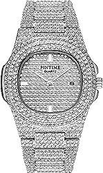 Silver Dual Rhinestone Bezel Dress Watch