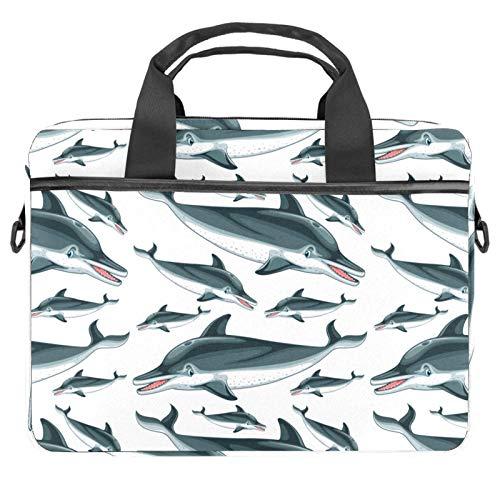 Laptoptasche aus Segeltuch, Motiv: Delphine, 13,3 - 14,5 Zoll
