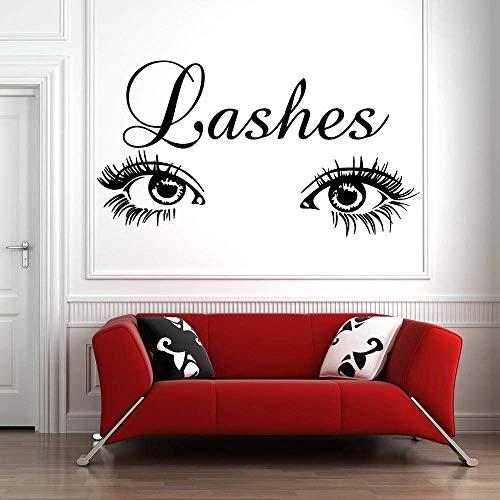 Eye Lashes Wall Decal Sticker Cils Extensions Sourcils Sourcils Salon de Beauté décor à la maison amovible vinyle stickers muraux 76x42 cm