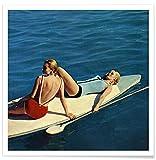 "JUNIQE® Surfen Vintage Poster 20x20cm - Design ""Tanning"