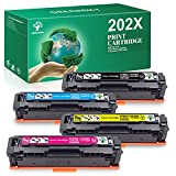 GREENSKY Compatible Toner Cartridges Replacement for HP 202X 202A CF500X CF500A for HP Color Laserjet Pro MFP M281fdw M281cdw M254dw M254dn M254nw M280nw (4 Packs)
