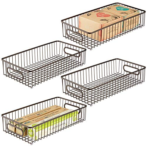 mDesign Extra Long Household Metal Drawer Organizer Tray Storage Organizer Bin Basket Built-In Handles - for Kitchen Cabinets Drawers Pantry Closet Bedroom Bathroom - 8 Wide 4 Pack - Bronze