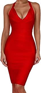 Women's Sexy Halter V Neck Knee Length Party Rayon Bodycon Bandage Dress