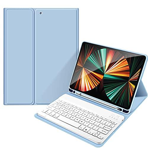 WYZDQ Funda de Teclado para iPad Pro 11'2021, Cubierta de Soporte de Teclado inalámbrico Bluetooth Desmontable, cáscara Trasera Protectora de Silicona Anti-Gota Todo Incluido,Azul