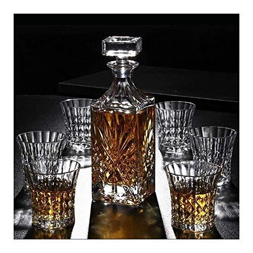 Decantadores Whiskey Decanter Whiskey Decanter Set con 6 gafas Dispensador de licor libre sin plomo para alcohol de ron escocés decantador whisky WUTONG