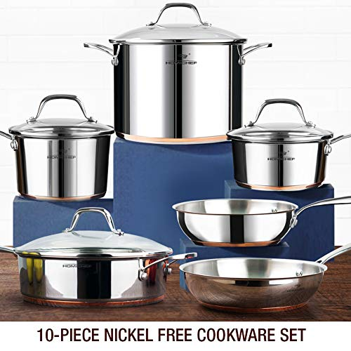 HOMI CHEF 10-Piece Stainless Steel Cookware Set (Nickel Free )