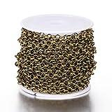 Beadthoven Chaîne Belcher ronde de 4 mm de diamètre en laiton avec bobine pour bracelets, bracelets de cheville, ras du cou Bronze antique