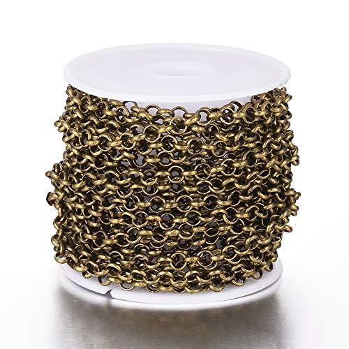 Beadthoven - Cadenas redondas Belcher de 4 mm de diámetro de latón con bobina para pulseras, tobilleras, gargantillas, joyería, bronce antiguo