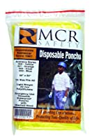 MCR Safety O20 50 by 80-Inch Schooner Jr. Polyethylene Single Ply Disposable Poncho with Attached Hood, Yellow, 1-Pair by MCR Safety