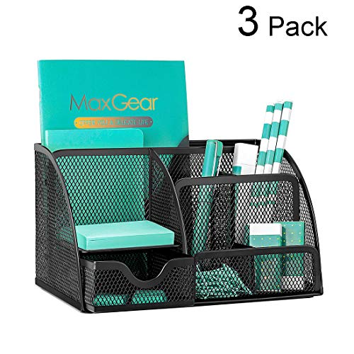 MaxGear Mesh Desk Organizers with Drawer, Office Desk Organizer Metal Pen Holder Pencil Organizer for Desktop Black Pencil Cup Storage Caddy, 6 Compartments, 8.7 x 5.5 x 5 inch, 3 Pack