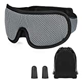 SupreGear Sleep Mask, Adjustable 3D Contoured Sleeping Eye Mask Comfortable Sleeping Mask with Earplugs and Travel Pouch for Night's Sleep Travel Nap Women Men, 100 Percent Block Out Light, Grey