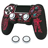 EuroBird Ps4 Silicone Controller Case& Anti-Slip, Dustproof, Mech Silicone Cover Skin Set for Sony Playstation 4 PS4/PS Slim/PS4 Pro Wireless Game Controllers +Thumb GripsX2 (red)
