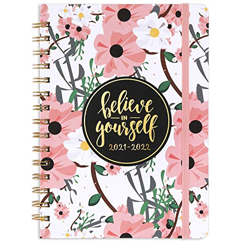 2021-2022 Planner - Weekly & Monthly Academic Planner 2021-2022 with Tabs, 6.4'x 8.5', Jul 2021 - Jun 2022, Hardcover, Strong Binding, Thick Paper, Back Pocket, Elastic Closure, Inspirational Quotes
