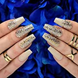 Hypnaughty 24 Pcs Vegas Gold and Nude Luxury Coffin Press On Nails with Glitter Design and Glue Ombre Glitter Long and Extra Long Fake Nails Full Cover Acrylic Nails (Vegas)