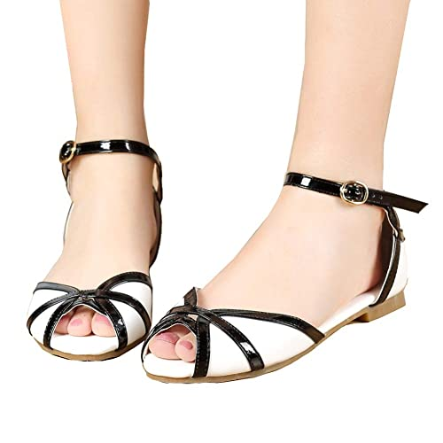 c3a7247c9dc1 getmorebeauty Women s Vintage Flats with Ankle Strap Open Toes Comfort Sandals  Shoes
