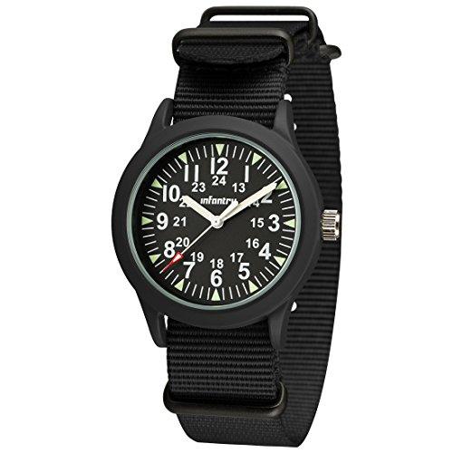 Infantry Herren Uhr Armbanduhr Männer 12/24 Stunden Militär Uhren Outdoor Herrenarmbanduhr Fliegeruhr Männeruhr Leuchtende Herrenuhr Schwarz NATO Nylonband