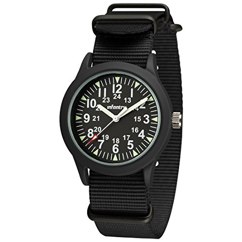 Infantry Mens Black Analog Military Watches for Men Field Tactical Army Wrist Watch 24 Hours Wristwatch with NATO Band