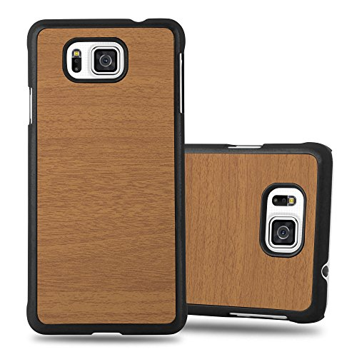 Cadorabo Funda para Samsung Galaxy Alpha en Woody MARRÓN - Cubierta Protecciónde Plástico Duro Super Delgada e Inflexible con Antichoque - Case Cover Carcasa Protectora Ligera