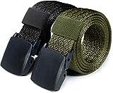 CQR Tactical Belt, Military Style Heavy Duty Belt, Lightweight Nylon Webbing EDC Buckle, 2pack Plastic Full Cover Dim Black/Green, L[w36-38]