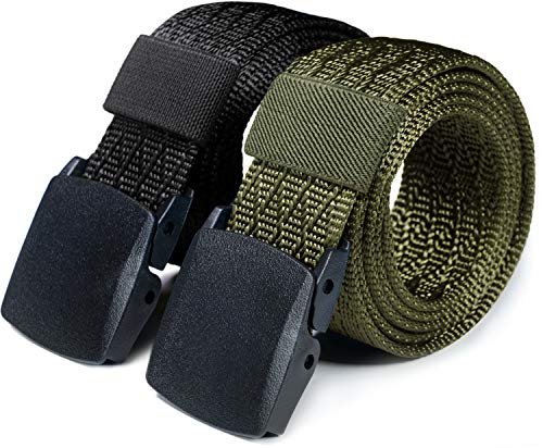 CQR CLSL Webbing Tactical Belt EDC 1.5 inches Plastic Lightweight Heavy Duty, 2pack Plastic Full Cover(mzt22) - Black/Green, XL[w40-42]