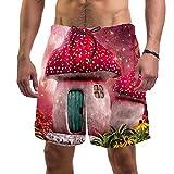 Pantalones Cortos de Playa para Hombre Traje de baño de Surf L,Arte Seta Rosa Ciudad Natal