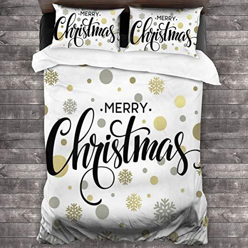 HARXISE Microfibra Juego de Cama Efectos 3 Piezas,Feliz Navidad Letras estilizadas en Abstracto Moderno Copo de Nieve patrón de Puntos,1(140x200cm)+2(50x80cm)