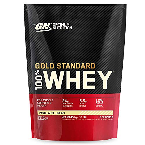 Optimum Nutrition Gold Standard Whey Protein Powder Muscle Building Supplements With Glutamine and Amino Acids, Vanilla Ice Cream, 15 Servings, 450 g, Packaging May Vary