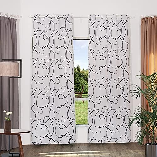 Gardin ogenomskinlig grå mörkläggningsgardin med öljetter mörkläggningsgardiner gardiner för gardinstång gardiner halsdukar med abstrakta streck motiv sovrum rep (set om 1, 175 x 130 cm)