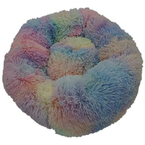 Haieshop Dog Mat Round Pet Bed Plush Soft Washable Self Warming Calming Dog Bed Donut Round Dog Bed Comfortable for Sleeping Winter (Color : Rainbow, Size : 40cm)