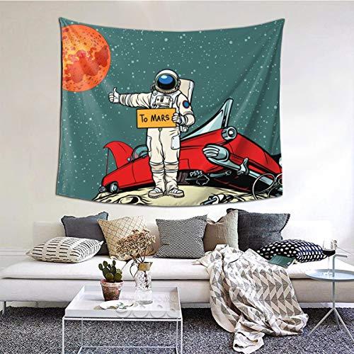 LASINSU Tapisserie Wandbehang,Der Weg zum Mars , Auto brach im Weltraum zusammen, Astronaut Hitchhiker.,Home Decor Wandteppiche Wandkunst für Zimmer 150x200cm