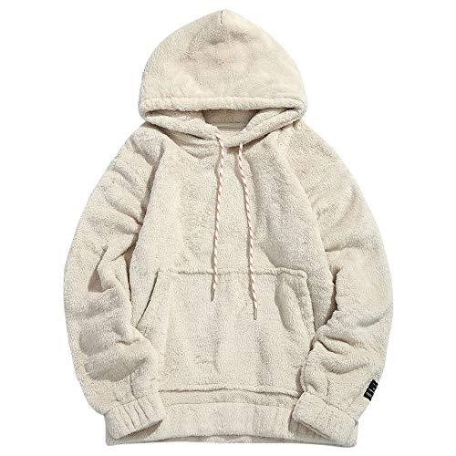ZAFUL Herren Kapuzenpullover mit Sherpa Fleece Fuzzy Übergroßer Pullover mit Kängurutaschen (M, Warmweiß)