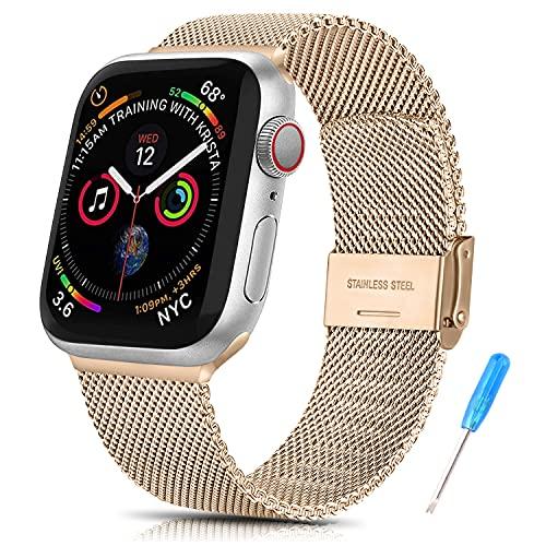 Amzpas Cinturino Compatibile con Apple Watch Cinturino 44mm 42mm 40mm 38mm, Nuovo Cinturino in Acciaio Inossidabile in Metallo per iWatch Serie 6,5,4,3,2,1,SE (42/44MM, Oro rosa)