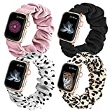 Selftek 4 Packs Compatible with Scrunchie Apple Watch Strap 38mm 40mm Soft Cloth Printed Fabric Watch Band Bracelet for Women Smartwatch Bands Black for Apple iWatch SE/6/5/4/3/2/1