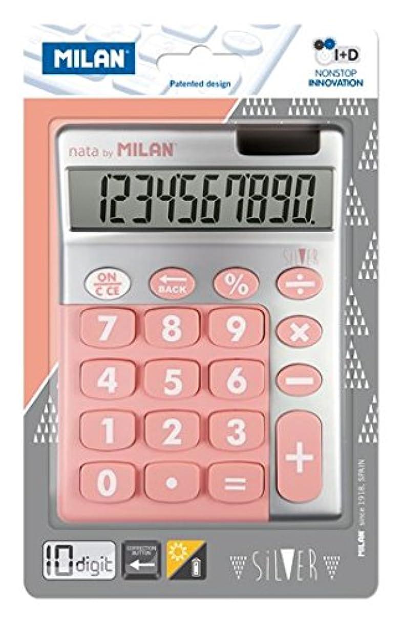 蒸気アクセント確かにMILAN 10桁電卓SILVER ピンク