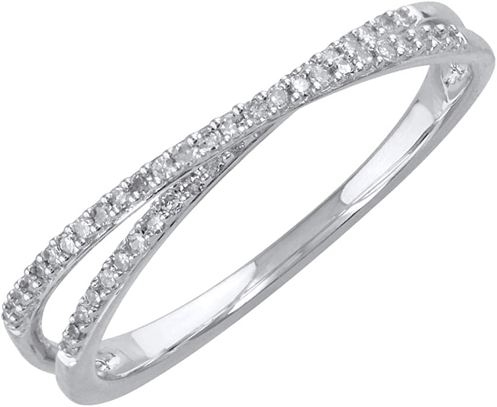 10K Gold Diamond Bypass Wedding Excellence Carat 0.14 Max 53% OFF Ring Band