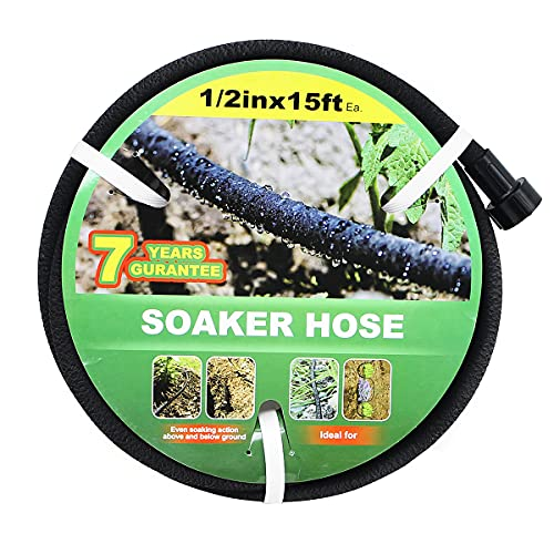 Taisia 1/2 Soaker Hose 15 FTGarden Soaker Hose with Push on Fittings Lead Drip Hose Saves 70%Water Heavy Duty Soaker Hose for Garden, Lawn(1-2-15ft)