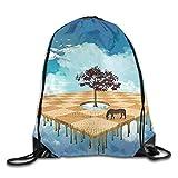 Etryrt Mochila de Cuerda,Bolsas de Gimnasia, Surreal Landscape Over Gym Sport Bag Drawstring Bag Backpack Draw Cord Bag for Men Women Gym,Sport,Yoga,Dance,Travel
