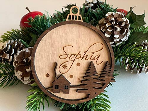 Popular Custom Made Christmas Gifts For 2021 Amazon Com Personalized Wood Christmas 2021 Tree Ornament Custom Name Handmade Engraved Home Decorations Wooden House Winter Hanging 3d Tree Decor Housewarming Gift Holiday Gift Name Tags Bauble New Year 2022 Handmade